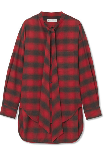 Balenciaga shirt flannel shirt oversized cotton flannel red top