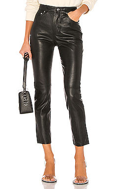 GRLFRND Shiloh Leather Pant in Black from Revolve.com