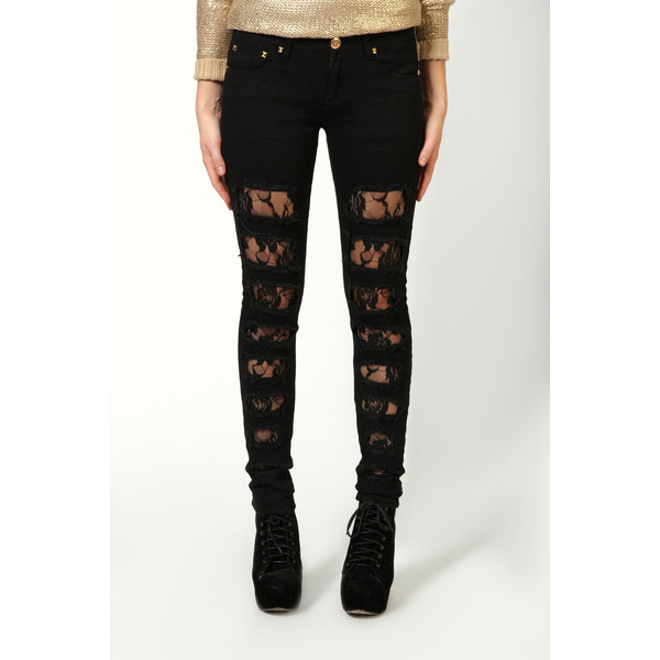 Jade Lace Insert Ripped Skinny Jeans
