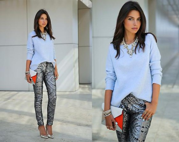 silver glitter jewels shirt pants jeans skinny pants blouse