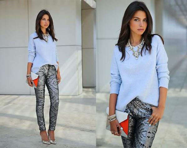pants jeans skinny pants glitter silver jewels blouse shirt