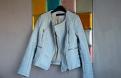 jacket,zara,pastel,pastel blue,leather,biker jacket