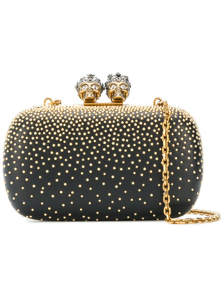 women king clutch leather black bag
