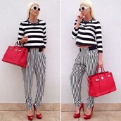 bag,stripes,striped top,zara stripped pants,red dress,black and white,sunglasses,round sunglasses,high waisted,high waisted pants,hermes,red bag,hermes kelly bag,pumps,red shoes,high heels,high red,jelena karleusa,crop tops,cropped,jewels,white sunglasses