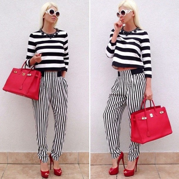 bag stripes striped top zara stripped pants red dress black and white sunglasses round sunglasses high waisted high waisted pants hermes red bag hermes kelly bag pumps red shoes high heels high red jelena karleusa crop tops cropped jewels white sunglasses