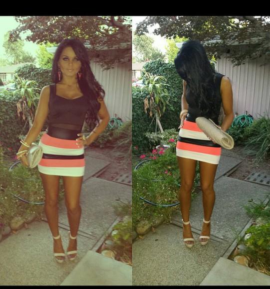 striped skirt leather skirt banded skirt bodycon skirt