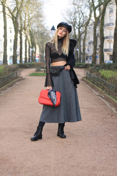 from brussels with love,blogger,top,skirt,shoes,jewels,tights,bag,belt,coat,bell sleeves,see through top,red bag,midi skirt,belt bag,crop tops,winter outfits