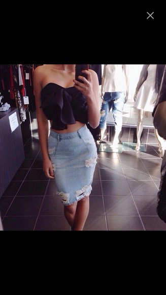 jeans skirt high waist denim ripped