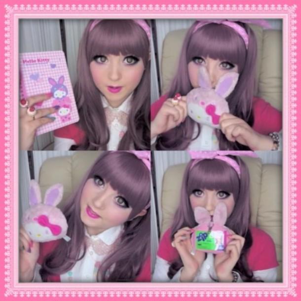 jewels hello kitty hello kitty bunny bunny pink kawaii book id card card holder ring headband venusangelic cute sweet girly necklace bib necklace