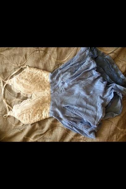 romper denim romper lace white beautiful dress
