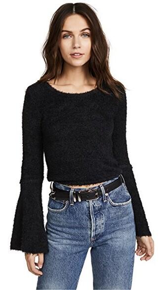 sweater bell sleeve sweater black