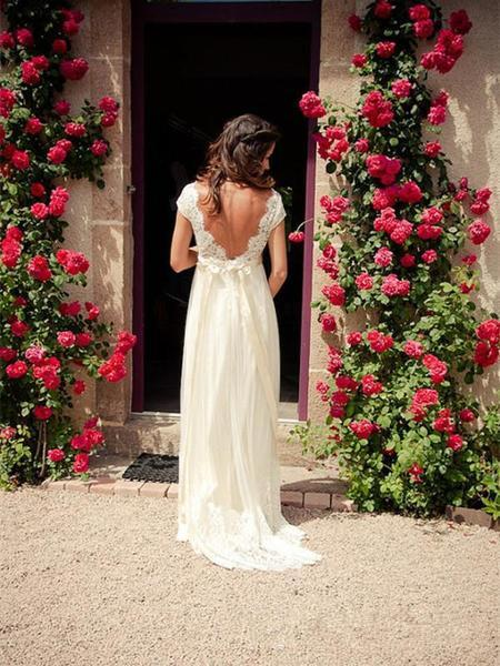 A Line V Neck Cap Sleeves Backless Lace Wedding Dresses, Bridal Dresses, Lace Prom Dresses on Storenvy