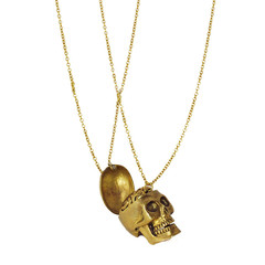Monserat De Lucca — Skull with Brain 2pc Brass Necklace Set