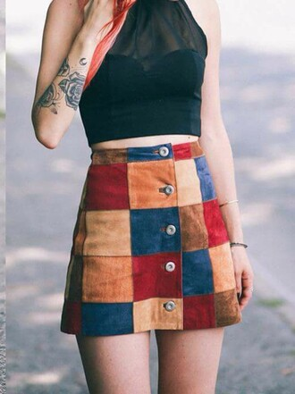 tank top skirt suede skirt fall skirt button up skirt multicolor le happy buttoned skirt luanna perez