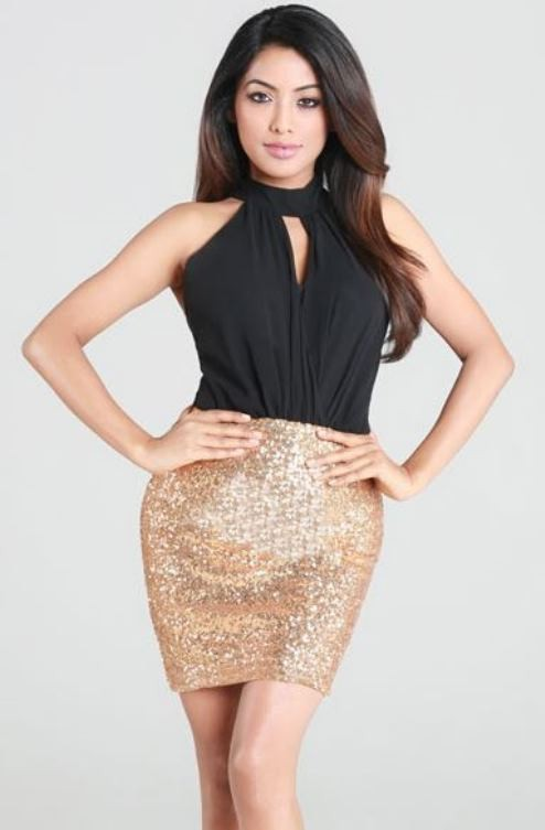 Black & Gold Sequin Keyhole Halterneck Mini Dress