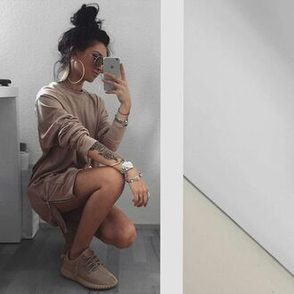 shirt tunic dress long sleeve dress beige dress sweater brown fashion style fashionstyle sweater dress ootd dress short dress girl girly girly wishlist tumblr nude zip zipper dress dope tumblr outfit tumblr girl instagram yeezy outfit outfit idea long sleeves