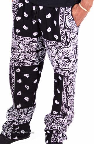 Black Bandana Paisley Pants | eBay