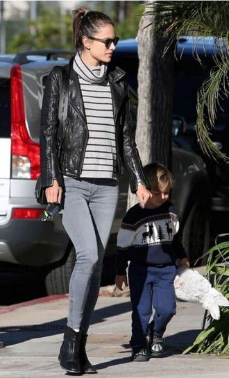 sweater jacket jeans alessandra ambrosio ankle boots stripes striped sweater