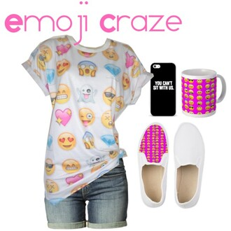 shoes emoji print emoji pants emoji socks emoji shirt emojies t-shirt phone cover iphone earphones jacket home accessory jeans