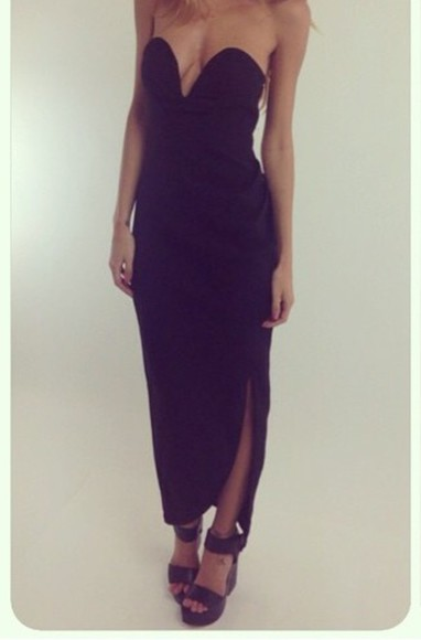 bustier dress black slit dress style fashion maxi dress fitted dress