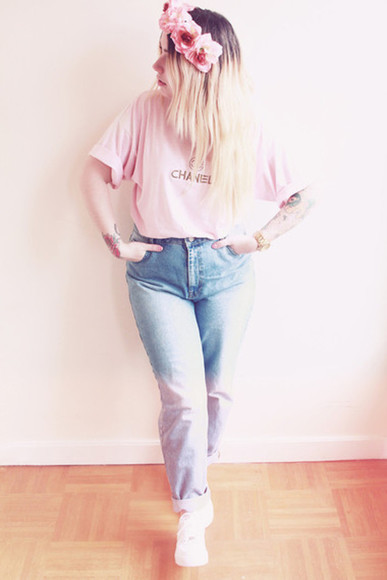 shirt white pretty dip dyed pink denim jeans flowers girly pastel headband floralheadwear floral headband