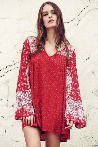 dress red boho gypsy cool trendy summer spring zaful