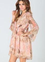 peach chiffon dress,peach floral dress,babydoll dress,Bow Back Dress,open back dresses,faux wrap dress,v neck dress,elastic waist dress,www.ustrendy.com