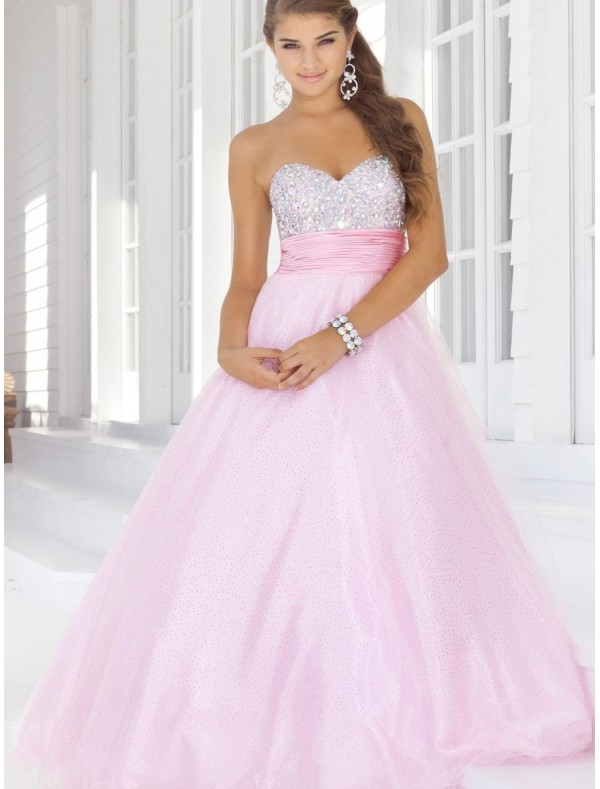 Organza Sweetheart Strapless Neckline Ball Gown Prom Dress with Beaded Bust - Special Occasion - RainingBlossoms