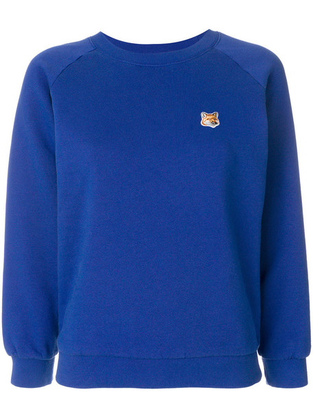 maison kitsune sweatshirt embroidered fox women cotton blue sweater
