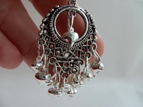 Handmade ooak Silver love hearts chandelier earrings by kadootje77