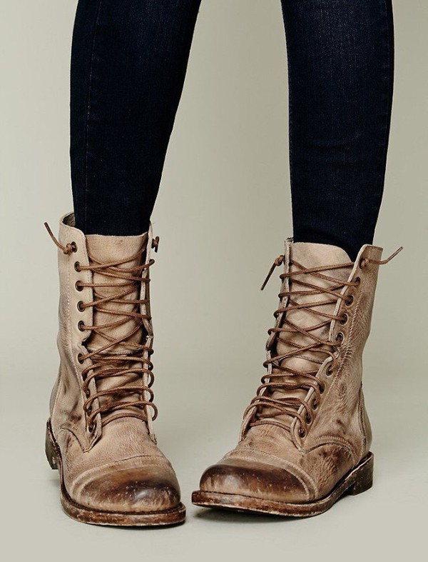 Original Womens Military Combat Boot Motorcycle Riding Lace Buckle Zipper Soda Shoes Dome | EBay