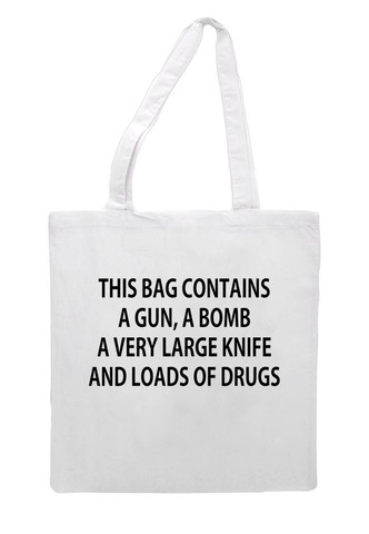 This Bag Contains A Gun Tote Bag | Cheap Funny T Shirts ~  Pop Culture T Shirts ~ Baby Onesies ~ Xray Skeleton Baby Tops ~ Funny Maternity Tops