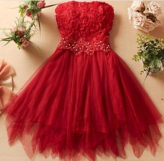 dress cute holiday dress summer dress red red dress floral flower dress summer outfits roses