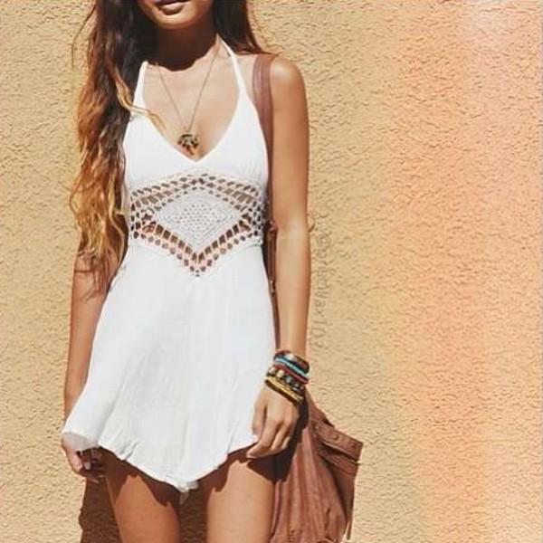dress boho crochet summer dress tank top dress white dress white crochet dress flow boho dress lace dress white cute