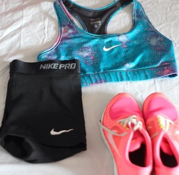 underwear sports bra nike shorts nike running shoes shoes tank top blue purple nike sports bra