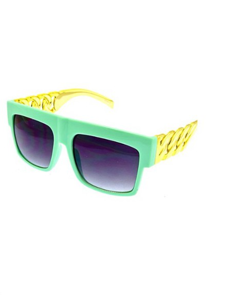 sunglasses turquoise glasses black chain fashion streetwear style green uv protection lenses celebrity style street goth street fashion street clothing Fashionista