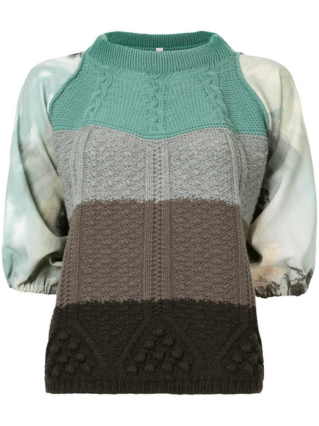 top women wool knit green