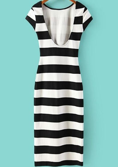 Black White Striped Short Sleeves Backless Dress