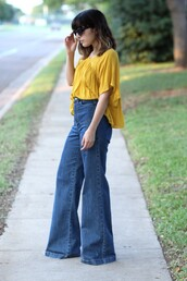 the stylish soul,blogger,top,mustard,high waisted jeans,flare jeans