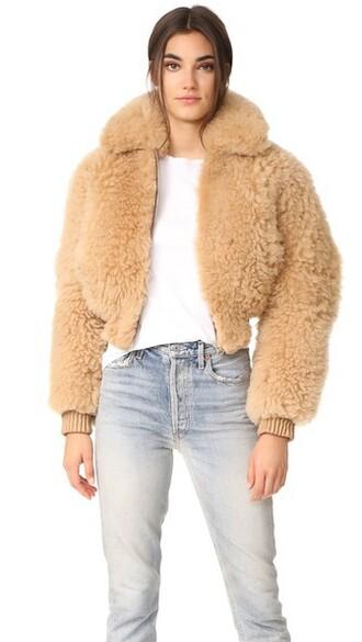 jacket shearling jacket cropped camel
