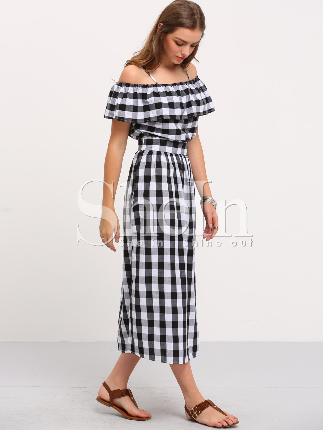 35de020715 Black and White Plaid Off The Shoulder Dress -SheIn(Sheinside)