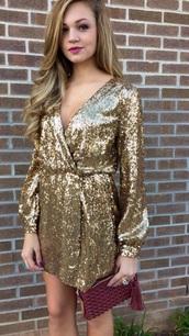 dress,gold sequins,long sleeve dress,wrap dress,style