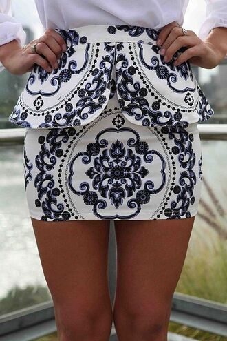 skirt damask peplum black and white blue and white navy white clothes fashion black and white skirt blogger oriental print barock baroque mini skirt shirt pattern blue tight classy tumblr peplum skirt dark blue cute print printed skirt short skirt design short cute skirt white skirt blue skirt blue pattern style floral pencil skirt