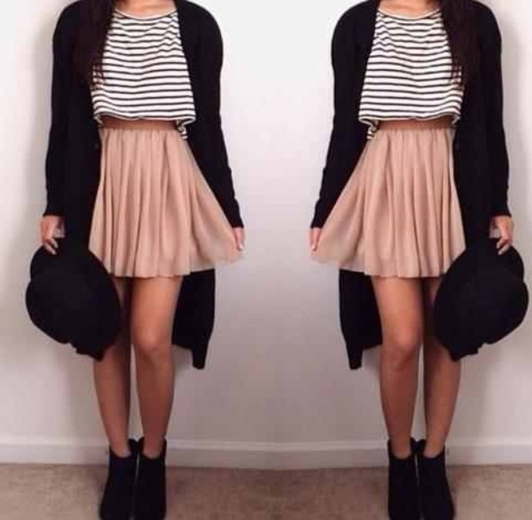 shirt stripes cute girly sun hat champagne sweater boots hipster boho alternative pop skirt shoes