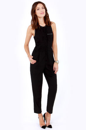 Cute Black Jumpsuit - Cutout Jumpsuit - Sleeveless Jumpsuit - $59.00