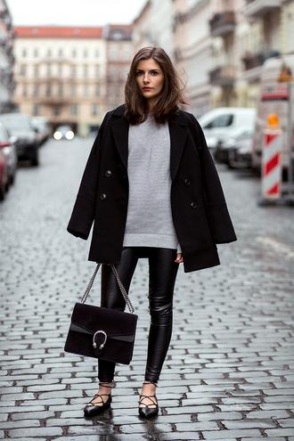 simple et chic blogger bag shoes jacket jeans scarf sweater pants blouse