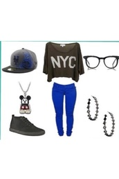 shirt,oversized shirt,hipster glasses,new york city,snapback,converse,disney,mickey mouse,hoop earrings,blue jeans,hat,swag,blouse,pants,shoes