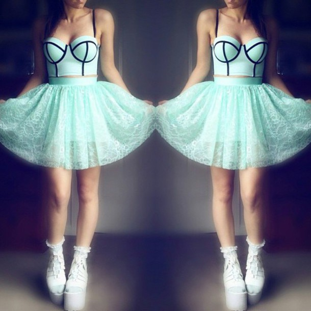 shirt blue corset aqua mint mint and black skirt