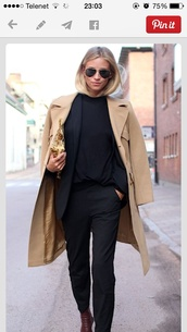long,classic,high heels,ankle boots,tan coat,wool coat,jumpsuit,boots,camel coat,the fashion eaters,blogger,classy,black pants,coat,brown coat,winter coat,trouser,blazer,black,black sweater,shoes,le fashion image,sunglasses,jacket,pants