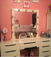 home accessory,white,vanity with lights,makeup table